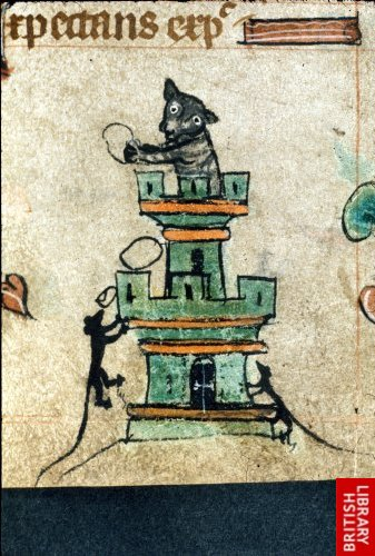 Harley 6563 f. 72 Book of Hours - Cat in a tower