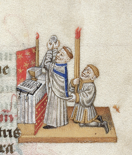 Harley 2915 f.84 Priest celebrating mass