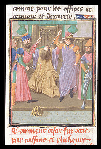 Royal 16 G VIII f.331v Murder of Caesar