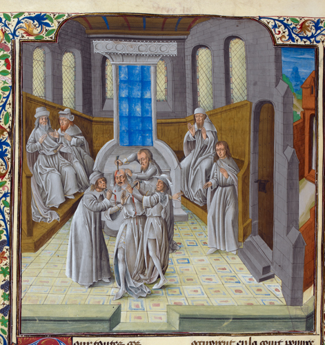 Royal 18 E V f.355v Murder of Caesar