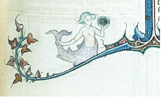Detail of a mermaid sitting on a bar border holding her tail in one hand and a circular mirror in the other From Scholastic miscellany, (France, Central (Paris), between 1309 and 1316); shelfmark Burney 275 f.404