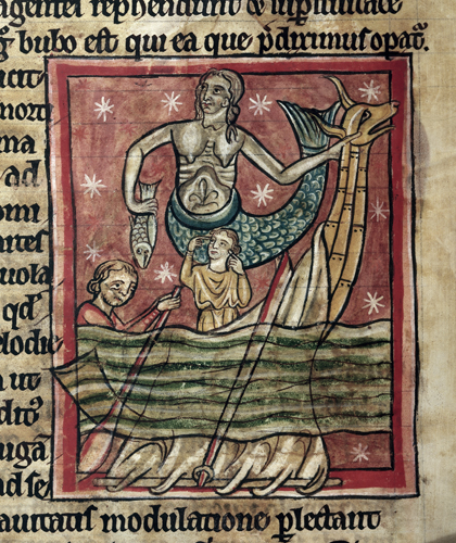 Detail of a miniature of the siren (Syrene) or mermaid who holds a fish, and the prow of a boat with two men in it, one rowing from Bestiary, with extracts from Giraldus Cambrensis on Irish birds (England, S. (Salisbury?), 2nd quarter of the 13th century); Harley 4751 f.47v.