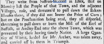 Reading of the Riot Act in Saffron Walden 1740